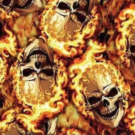 Flaming Skulls Hydro Dipping Pattern