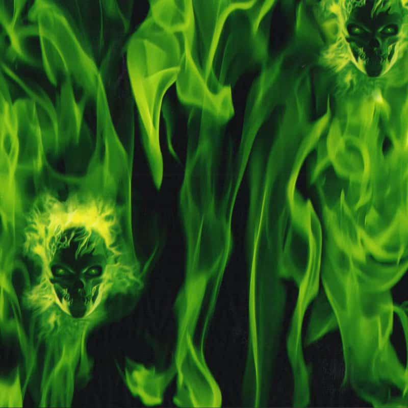 Green Flaming Skulls Hydro Dipping Pattern