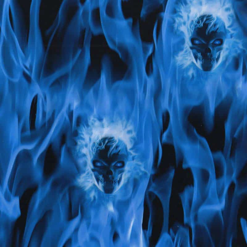 Blue Flaming Skulls Hydro Dipping Pattern
